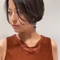 ハンサムショート ダークトーン ショートヘア 透明感カラー ヘアスタイルや髪型の写真・画像
