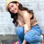 ベレー帽アレンジ レイヤーカット ロング ベレー帽