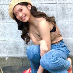 ベレー帽アレンジ レイヤーカット ロング ベレー帽 ヘアスタイルや髪型の写真・画像