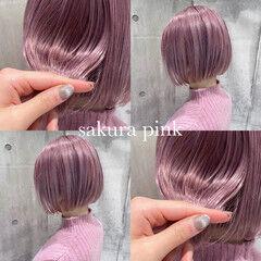 ピンクベージュ ラベンダーピンク ペールピンク ラズベリーピンク ヘアスタイルや髪型の写真・画像