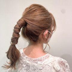 ロング ポニーアレンジ セルフヘアアレンジ ポニーテールアレンジ ヘアスタイルや髪型の写真・画像