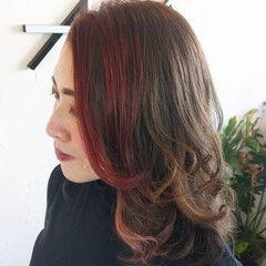 ウルフカット 韓国 エレガント ロング ヘアスタイルや髪型の写真・画像