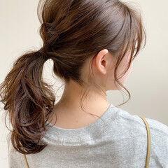 ミディアム ポニーテール 小顔 アンニュイほつれヘア ヘアスタイルや髪型の写真・画像