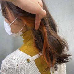 ナチュラル ポイントカラー インナーカラー ダブルカラー ヘアスタイルや髪型の写真・画像