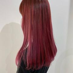 ベリーピンク ロング ラベンダーピンク ピンクアッシュ ヘアスタイルや髪型の写真・画像
