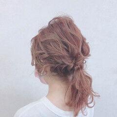 ナチュラル ヘアアレンジ セミロング 編みおろしヘア ヘアスタイルや髪型の写真・画像