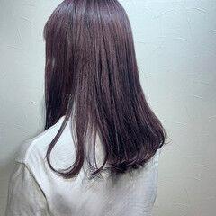 ロング モード ラベンダーアッシュ ラベンダーカラー ヘアスタイルや髪型の写真・画像