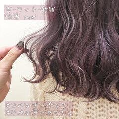 ピンクラベンダー ミディアム グラデーション ピンクバイオレット ヘアスタイルや髪型の写真・画像