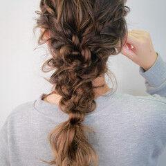 編みおろしヘア セミロング ヘアセット 簡単ヘアアレンジ ヘアスタイルや髪型の写真・画像
