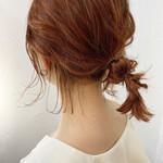 アンニュイほつれヘア オレンジカラー ナチュラル 切りっぱなしボブ