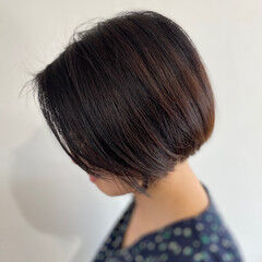髪質改善カラー ボブ ベリーショート ヘナカラー ヘアスタイルや髪型の写真・画像