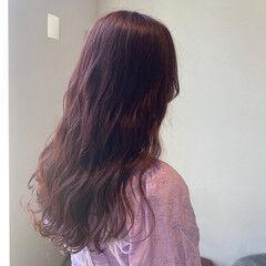 ガーリー ピンクカラー ブリーチなし 360度どこからみても綺麗なロングヘア ヘアスタイルや髪型の写真・画像