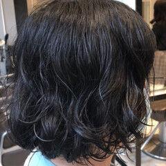 ナチュラルデジパ ゆるふわパーマ デジタルパーマ ボブ ヘアスタイルや髪型の写真・画像
