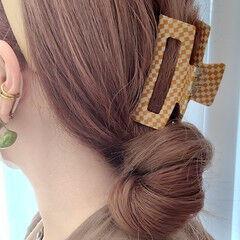 ロング ガーリー セルフアレンジ ヘアアレンジ ヘアスタイルや髪型の写真・画像