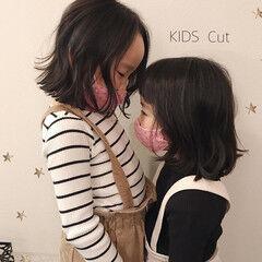 キッズ ミディアム キッズカット 子供 ヘアスタイルや髪型の写真・画像