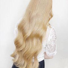 ロング ナチュラル バレイヤージュ ホワイトブリーチ ヘアスタイルや髪型の写真・画像
