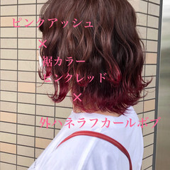 ボブ ピンク フェミニン 前下がりボブ ヘアスタイルや髪型の写真・画像