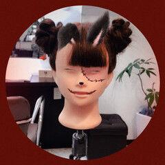 ハロウィン 秋 ガーリー お団子 ヘアスタイルや髪型の写真・画像