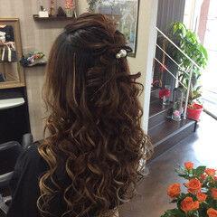 ロング 結婚式 簡単ヘアアレンジ ナチュラル ヘアスタイルや髪型の写真・画像