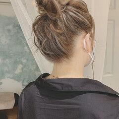 ハイライト デートヘア おだんご エレガント ヘアスタイルや髪型の写真・画像