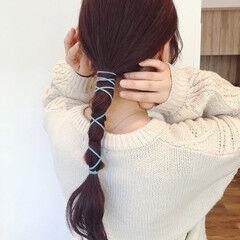 フェミニン ロープ編み カシスカラー 簡単ヘアアレンジ ヘアスタイルや髪型の写真・画像