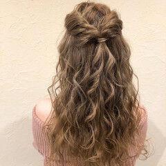 ハーフアップ お呼ばれヘア 二次会ヘア ロング ヘアスタイルや髪型の写真・画像