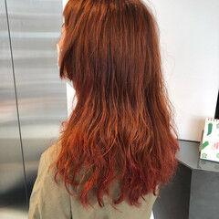オレンジブラウン ガーリー ロング オレンジカラー ヘアスタイルや髪型の写真・画像