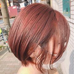 ピンクブラウン カシスレッド ショート ショートボブ ヘアスタイルや髪型の写真・画像