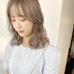 シースルーバング レイヤーカット ミディアム 韓国ヘア