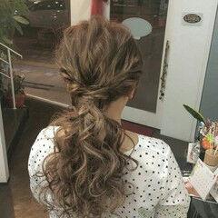 ナチュラル ヘアアレンジ ロング ローポニーテール ヘアスタイルや髪型の写真・画像