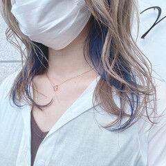 透明感カラー インナーカラー ミルクティーアッシュ ミルクティーベージュ ヘアスタイルや髪型の写真・画像
