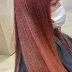 レッド ナチュラル レッドカラー セミロング ヘアスタイルや髪型の写真・画像