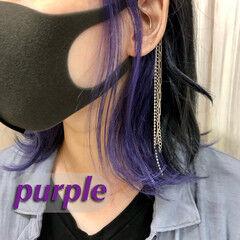 ミディアム パープルカラー 透明感カラー インナーカラー ヘアスタイルや髪型の写真・画像