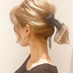 ボブ ボブアレンジ ブリーチカラー ミルクティーベージュ ヘアスタイルや髪型の写真・画像