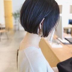 切りっぱなしボブ 黒髪ショート ショート 地毛風カラー ヘアスタイルや髪型の写真・画像