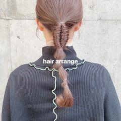 簡単ヘアアレンジ エレガント ポニーテールアレンジ セミロング ヘアスタイルや髪型の写真・画像