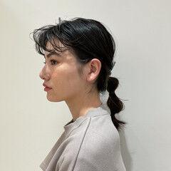 透明感カラー セミロング 簡単ヘアアレンジ ヘアアレンジ ヘアスタイルや髪型の写真・画像
