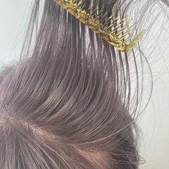 ピンクベージュ ナチュラル ミディアム お洒落 ヘアスタイルや髪型の写真・画像