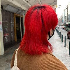 モード ミディアム ブリーチカラー レッドカラー ヘアスタイルや髪型の写真・画像