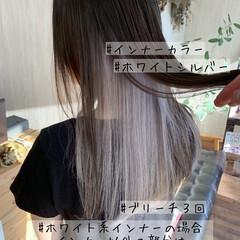 ストリート ホワイトグレージュ セミロング アッシュグレージュ ヘアスタイルや髪型の写真・画像