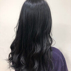 ブルーブラック なんちゃって黒染め 黒染め ナチュラル ヘアスタイルや髪型の写真・画像