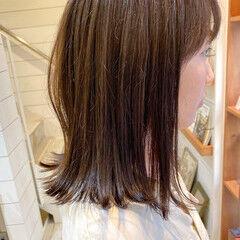 ナチュラル 透明感カラー アッシュグレー セミロング ヘアスタイルや髪型の写真・画像