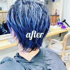 ショート ターコイズブルー インナーブルー ブルー ヘアスタイルや髪型の写真・画像