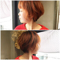 ラズベリーピンク ラベンダーピンク ストリート アプリコット ヘアスタイルや髪型の写真・画像