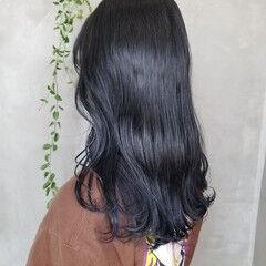 ネイビーカラー ナチュラル 韓国 オシャレ ヘアスタイルや髪型の写真・画像
