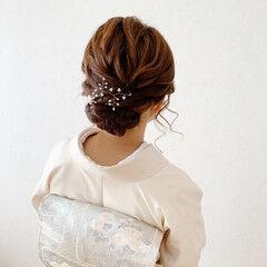 着物 結婚式 訪問着 エレガント ヘアスタイルや髪型の写真・画像