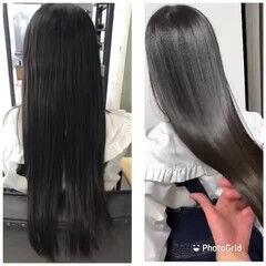 髪質改善トリートメント トリートメント セミロング オリーブカラー ヘアスタイルや髪型の写真・画像