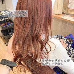 ナチュラル アプリコットオレンジ 透明感カラー オレンジベージュ ヘアスタイルや髪型の写真・画像
