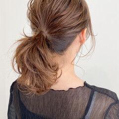髪質改善トリートメント ミディアム イルミナカラー ポニーテール ヘアスタイルや髪型の写真・画像