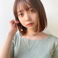 縮毛矯正ストカール 簡単ヘアアレンジ ナチュラル ミディアム ヘアスタイルや髪型の写真・画像